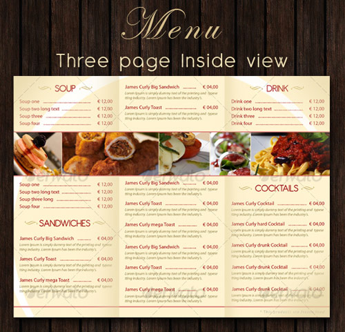 Bar - Restaurant Menu PSD template