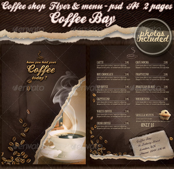 Coffee shop flyer & menu - photos included