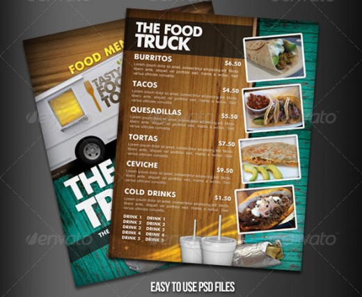 Food Truck Menu Flyer template