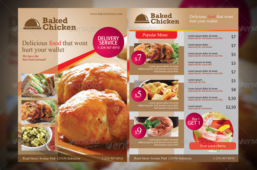 Modern Restaurant Food Menu Flyer Template.