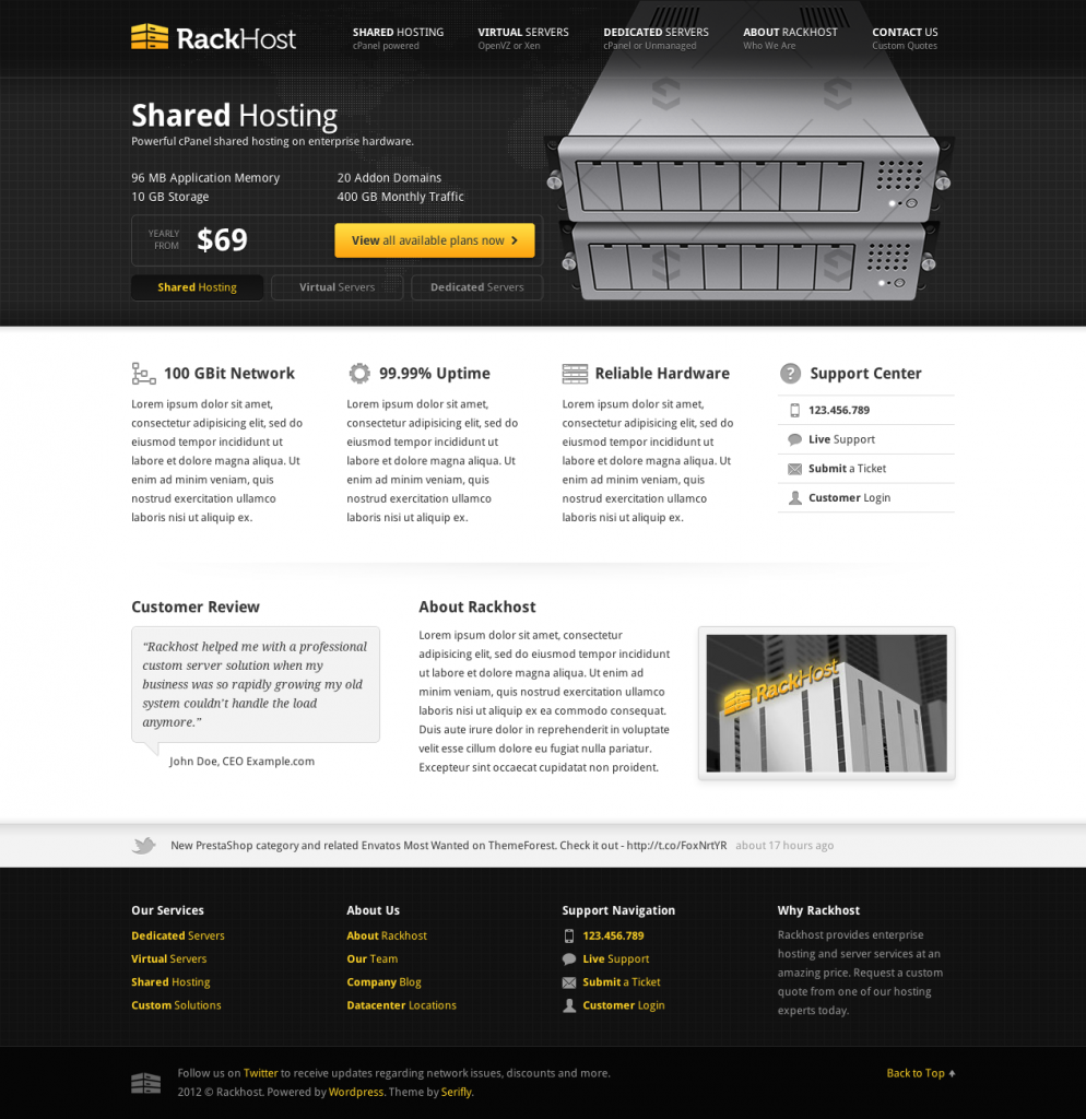 Rackhost web hosting theme