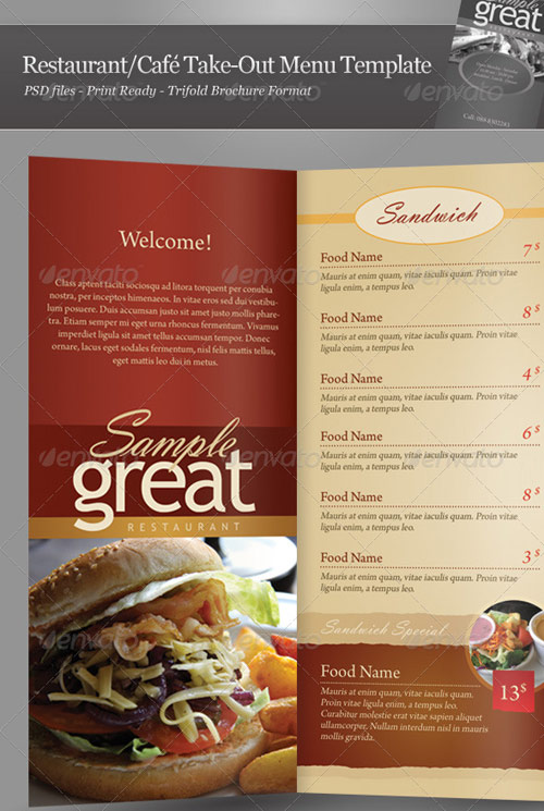 Restaurant Cafe Take-out Menu Template