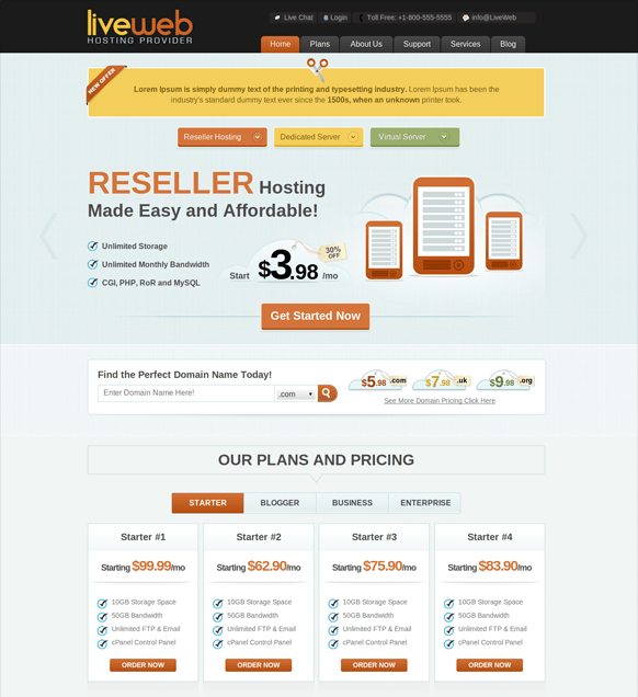 liveweb-wordpress-web-hosting-template